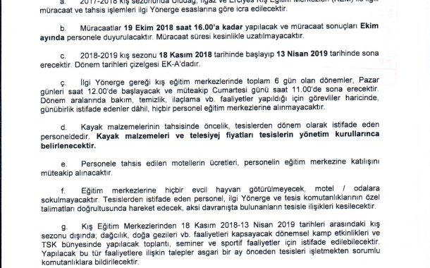 2018-2019 YILI TSK KIŞ EĞİTİM MERKEZLERİ DUYURUSU
